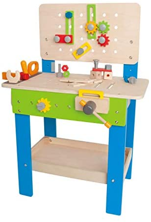 41EBWDUTNVL. AC  - Master Workbench by Hape | Award Winning Kid's Wooden Tool Bench Toy Pretend Play Creative Building Set, Height Adjustable 35Piece Workshop for Toddlers