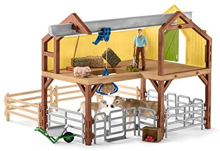 41F23BeJffL. AC  - Schleich Farm World Large Toy Barn and Farm Animals 52-piece Playset for Toddlers and Kids Ages 3-8 Multi, 19.3 Inch