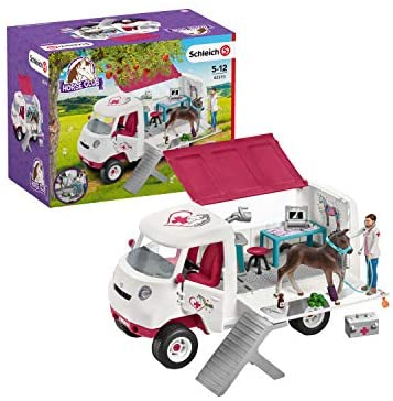 41GhMz1zYOL. AC  - Schleich Horse Club, 17-Piece Playset, Horse Toys for Girls and Boys 5-12 years old Mobile Vet