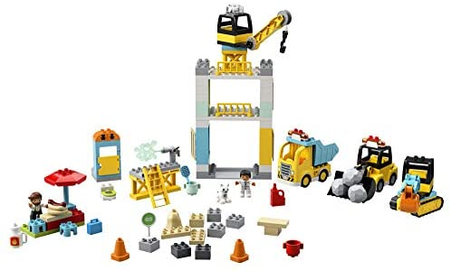41HNgD1gXkL. AC  - LEGO DUPLO Construction Tower Crane & Construction 10933 Exclusive Creative Building Playset with Toy Vehicles; Build Fine Motor, Social and Emotional Skills; Gift for Toddlers, New 2020 (123 Pieces)
