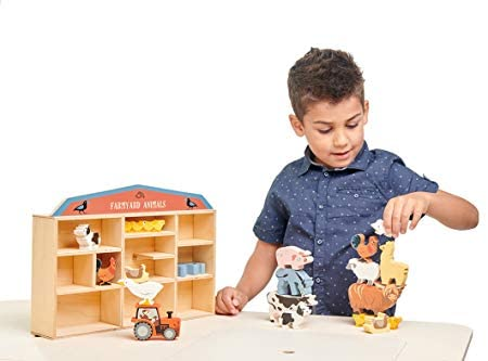 41HQgdZ8TfL. AC  - Tender Leaf Toys Farmyard Animals – 13 Wooden Country Farm Figurines with a Display Shelf - Classic Toy for Pretend Play – Develops Creative & Imaginative Skills – Learning Role Play – Ages 3+ Years