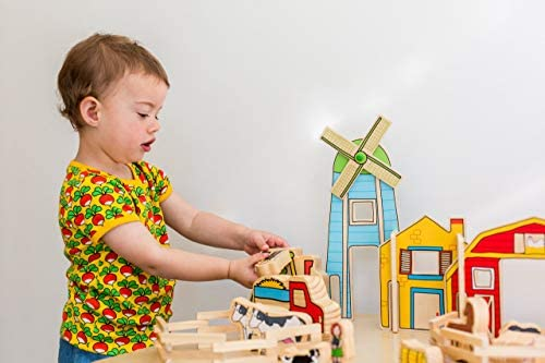 41Hq1xu keL. AC  - The Freckled Frog Happy Architect - Farm - Set of 26 - Ages 2+ - Wooden Blocks for Preschoolers and Elementary Aged Kids - Includes Farmers, Animals and Buildings