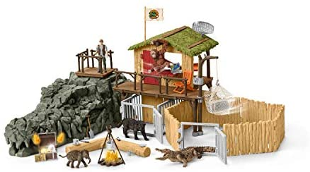 41I3vwoHlJL. AC  - Schleich Wild Life Crocodile Jungle Research Station with Jungle Animals 69-piece Playset for Kids Ages 3-8