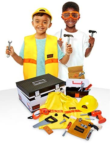 41I4pAM+94L. AC  - BLACK+DECKER Construction Dress Up Trunk for Kids with Fabric Role Play Costume Accessories, Realistic Toy Tools & Portable Kid-Sized Tool Box – 22 Piece Included (Amazon Exclusive)