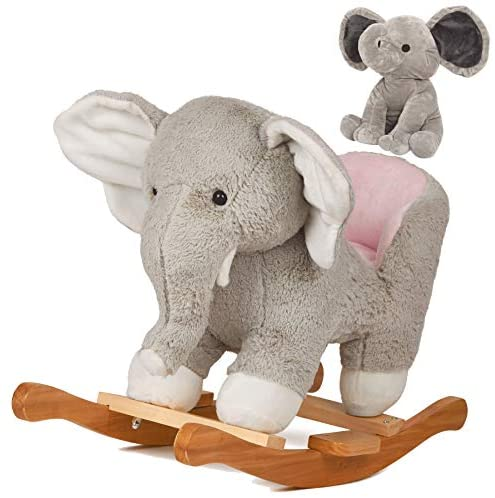 """41KG3YpfcWL. AC  - SpecialYou Rocking Horse Wooden Rockers with Seat Elephant Ride Plush Stuffed Animals Toy -Set of 2, Boy Girl Kids Ride on Toys for 8 Months to 3 Years Old, 25"""" Lx10 Wx16:H, Gray"""