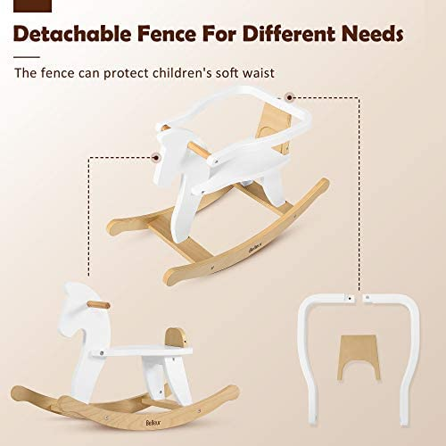 41N7lZW7QeL. AC  - Belleur Wooden Rocking Horse for Baby, Toddler Wood Ride-on Toys for 1-3 Year Old, Boys & Girls Rocking Animal for Indoor & Outdoor Activities, Birthday White