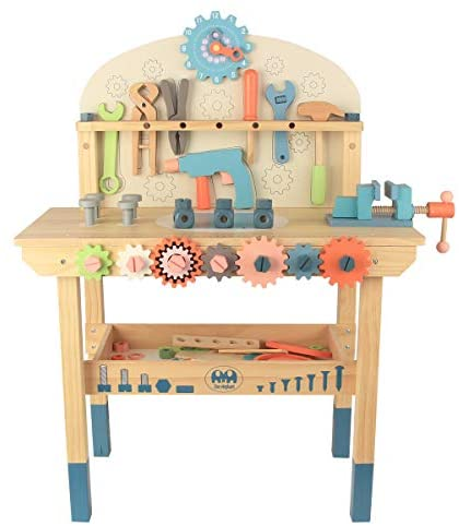 41OuyiOcYDL. AC  - Wooden Power Tool Workshop for Toddlers, Building Tools Sets Pretend Play Toys - Construction Workbench with Wrench, Screwdriver, Miter Saw and Hammer - Educational Gift for Kids Age 3 and Up