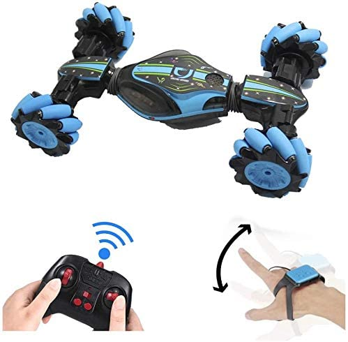 41PbZ7f85YL. AC  - GoolRC RC Stunt Car, 4WD 2.4GHz Remote Control Car, Deformable All-Terrain Off Road Car, 360 Degree Flips Double Sided Rotating Race Car with Gesture Sensor Watch Lights Music for Kids (Blue)