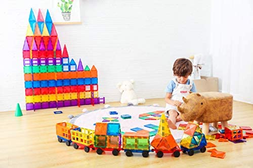 41PeD+AakDL. AC  - MEGAGONTILES 120PCS Magnetic Tiles | STEM AUTHENTICATED | Clear Magnetic Blocks | Magnetic Toys | Magnetic Building Blocks|Gift for Toddler Boys Girls 3-10 Year Old | Include Idea Books & Storage Bag