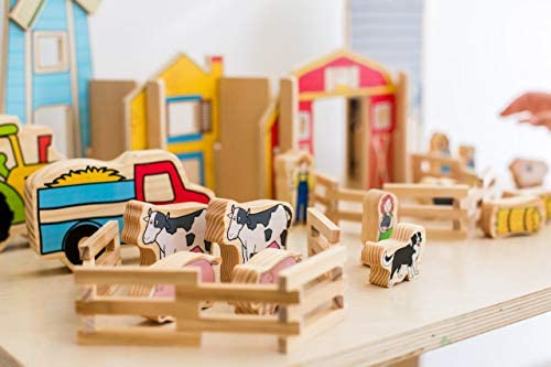 41PyVkbYglL. AC  - The Freckled Frog Happy Architect - Farm - Set of 26 - Ages 2+ - Wooden Blocks for Preschoolers and Elementary Aged Kids - Includes Farmers, Animals and Buildings