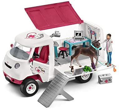 41RG0MY6M9L. AC  - Schleich Horse Club, 17-Piece Playset, Horse Toys for Girls and Boys 5-12 years old Mobile Vet