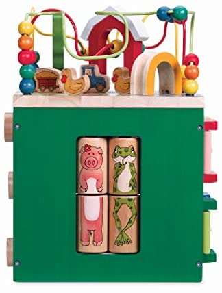 41T7uvefiFL. AC  - Battat – Wooden Activity Cube – Discover Farm Animals Activity Center for Kids 1 year +