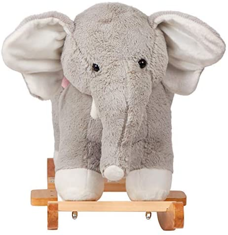"""41VSzadxc+L. AC  - SpecialYou Rocking Horse Wooden Rockers with Seat Elephant Ride Plush Stuffed Animals Toy -Set of 2, Boy Girl Kids Ride on Toys for 8 Months to 3 Years Old, 25"""" Lx10 Wx16:H, Gray"""