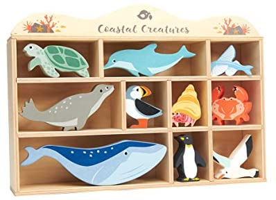 41ZfU7nFBXL. AC  - Tender Leaf Toys Coastal Creatures – 8 Wooden Ocean Animal Figurines with a Display Shelf - Classic Toy for Pretend Play – Develops Creative & Imaginative Skills – Learning Role Play – Ages 3+ Years