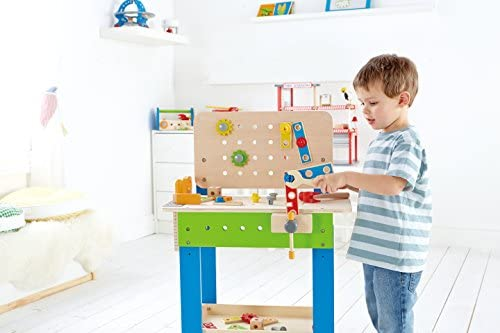 41beRyKTJtL. AC  - Master Workbench by Hape | Award Winning Kid's Wooden Tool Bench Toy Pretend Play Creative Building Set, Height Adjustable 35Piece Workshop for Toddlers