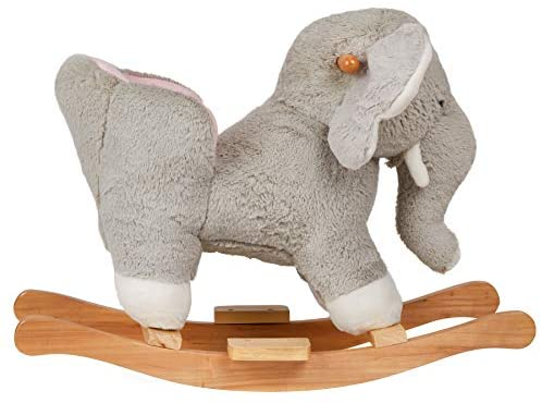 """41gO KR+OKL. AC  - SpecialYou Rocking Horse Wooden Rockers with Seat Elephant Ride Plush Stuffed Animals Toy -Set of 2, Boy Girl Kids Ride on Toys for 8 Months to 3 Years Old, 25"""" Lx10 Wx16:H, Gray"""