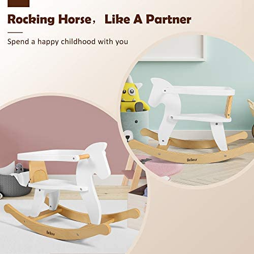 41ihpO1FNHL. AC  - Belleur Wooden Rocking Horse for Baby, Toddler Wood Ride-on Toys for 1-3 Year Old, Boys & Girls Rocking Animal for Indoor & Outdoor Activities, Birthday White