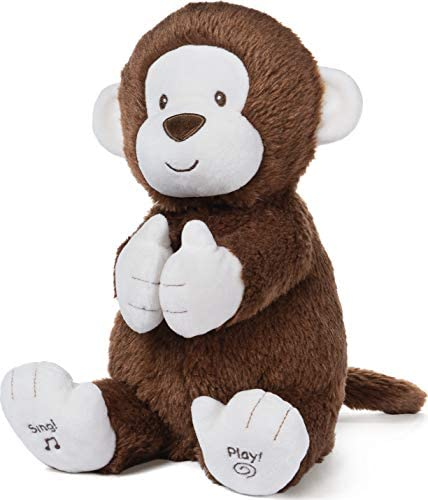 """41kLtGgy58L. AC  - Baby GUND Animated Clappy Monkey Singing and Clapping Plush Stuffed Animal, Brown, 12"""""""