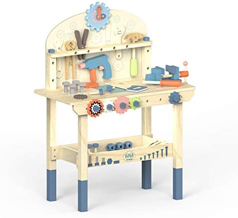 41nxZP0KNOL. AC  - ROBUD Large Wooden Play Tool Workbench Set for Kids Toddlers, Construction Workshop Tool Bench Toys Gift