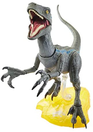 41qt vbDEmL. AC  - Jurassic World Velociraptor Blue 6-inches Collectible Action Figure with Movie-Authentic Detail, Movable Joints and Figure Display Stand; for Ages 4 and Up