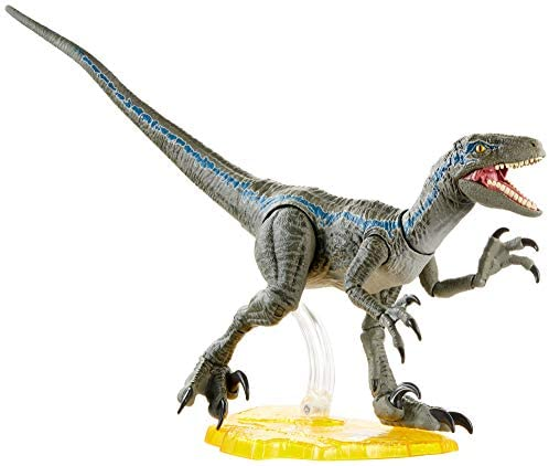 41rlHDZfhCL. AC  - Jurassic World Velociraptor Blue 6-inches Collectible Action Figure with Movie-Authentic Detail, Movable Joints and Figure Display Stand; for Ages 4 and Up