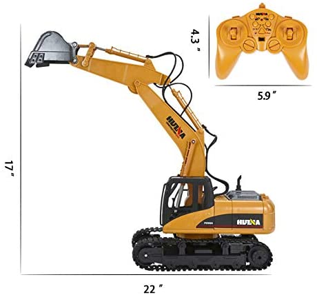 41tuqUGXUwL. AC  - TEMA1985 Remote Control Excavator Toys with Metal Shovel 15 Channel Full Functional RC Construction Vehicles with Lights & Sound 2.4Ghz RC Excavator Toys for Boys