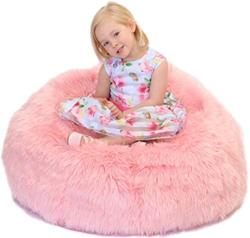 41ukah4NN6L. AC  - Fluffy Stuffs | Super Soft Furry Stuffed Animal Storage Bean Bag Chair Cover for Kids | Premium Plush Fur | Canvas Handle | Make Bedroom Clutter Comfortable and Fun for Children | Machine Washable