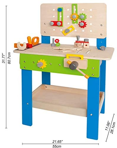 41vj7gurZkL. AC  - Master Workbench by Hape | Award Winning Kid's Wooden Tool Bench Toy Pretend Play Creative Building Set, Height Adjustable 35Piece Workshop for Toddlers