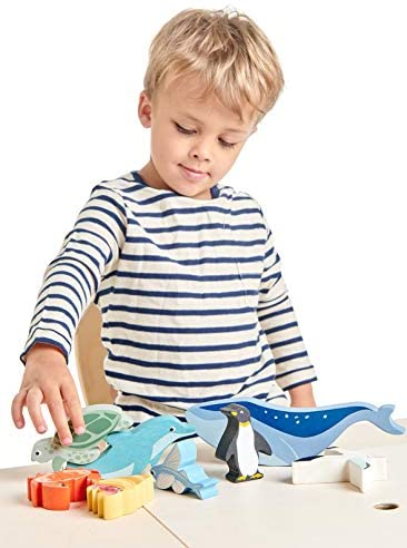 41wLYrhz5aL. AC  - Tender Leaf Toys Coastal Creatures – 8 Wooden Ocean Animal Figurines with a Display Shelf - Classic Toy for Pretend Play – Develops Creative & Imaginative Skills – Learning Role Play – Ages 3+ Years