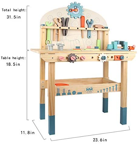 41wtLRPeNiL. AC  - Wooden Power Tool Workshop for Toddlers, Building Tools Sets Pretend Play Toys - Construction Workbench with Wrench, Screwdriver, Miter Saw and Hammer - Educational Gift for Kids Age 3 and Up