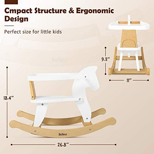 41yO0fSGBaL. AC  - Belleur Wooden Rocking Horse for Baby, Toddler Wood Ride-on Toys for 1-3 Year Old, Boys & Girls Rocking Animal for Indoor & Outdoor Activities, Birthday White