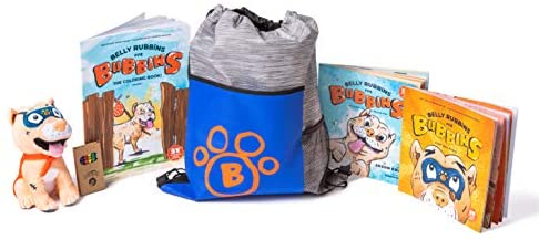 41yzCMLwiNL. AC  - Belly Rubbins for Bubbins Storybook & Plush Toy Set - 2 Children's Picture Books, Coloring Book with Crayons, Pit Bull Plushie, Storage Bag - Stories About Rescue Dog Adoption - Gifts for Kids Ages 3+