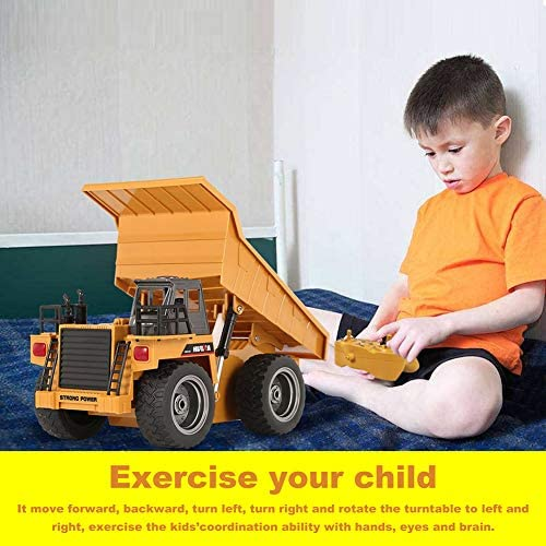 51+57gUAf7L. AC  - Remote Control Construction Dump Truck Toy 2.4G RC Truck 6 Channel Bulldozer 4 Wheel Driver Mine Construction Alloy Metal Vehicle Truck 1:18 with 2 Rechargeable Batteries for Boys Birthday Xmas Gift