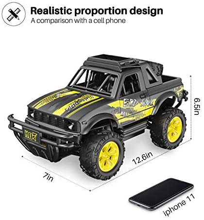 51+oAIO+E L. AC  - Remote Control Jeep Dodoeleph 4X4 1:16 Large Off-Road Monster RC Trucks, 70Min Play 2.4GHz All Terrain Rock Cralwer with LED Light, High Speed Electric Vehicle Car Toy for Boys Kids
