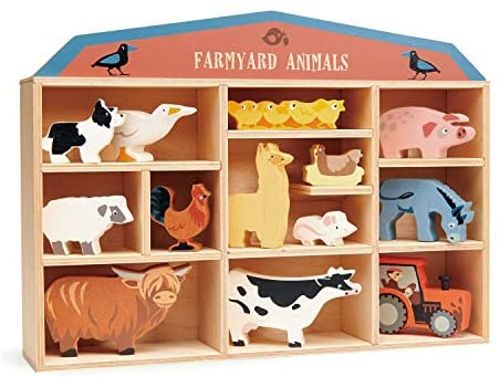 51+xhHD0zzL. AC  - Tender Leaf Toys Farmyard Animals – 13 Wooden Country Farm Figurines with a Display Shelf - Classic Toy for Pretend Play – Develops Creative & Imaginative Skills – Learning Role Play – Ages 3+ Years