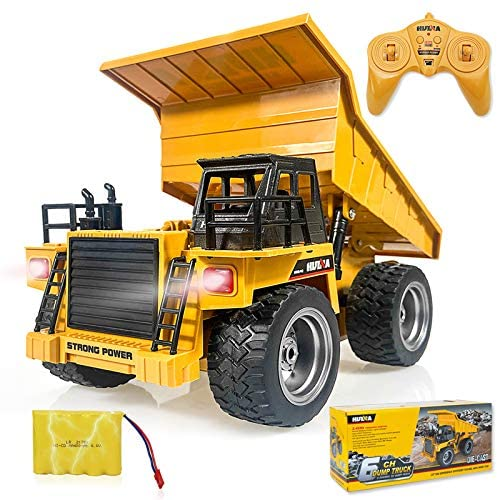 510Cb8Qh 7L. AC  - Remote Control Construction Dump Truck Toy 2.4G RC Truck 6 Channel Bulldozer 4 Wheel Driver Mine Construction Alloy Metal Vehicle Truck 1:18 with 2 Rechargeable Batteries for Boys Birthday Xmas Gift