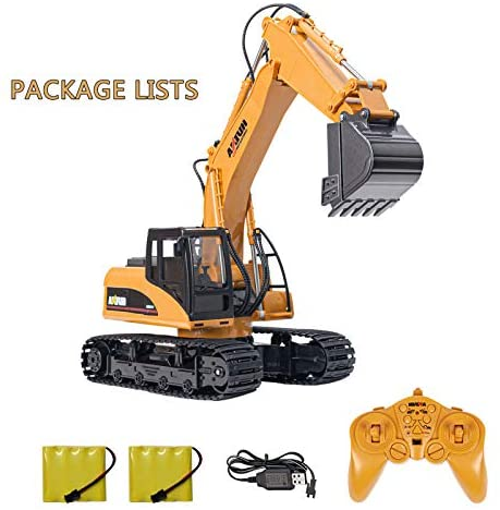 510n3yjMPxL. AC  - TEMA1985 Remote Control Excavator Toys with Metal Shovel 15 Channel Full Functional RC Construction Vehicles with Lights & Sound 2.4Ghz RC Excavator Toys for Boys