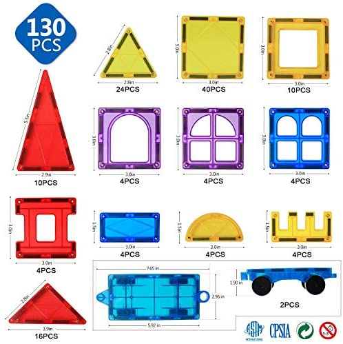 51229+8Tx6L. AC  - Magnet Building Tiles 130 Pcs 3D Toys Magnets Magnetic Blocks Set Preschool Toys Gifts for 3 4 5 Years Old Age Boys Girls and Toddlers.