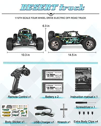 512J5ekQU9L. AC  - Remote Control Car 1:12 Scale High Speed RC Cars 42KM/H 4X4 Off-Road Trucks 2995, All Terrain Electric Powered RC Vehicle RTR Hobby Grade 40+ Min Play, Remote Control Toy Trucks for Boys and Adults