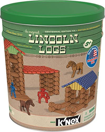 512co3usk+L. AC  - Lincoln Logs Centennial Edition Tin Amazon Exclusive-150+ Pieces-Real Wood-Ages 3+-Best Retro Building Gift Set for Boys/Girls-Creative Construction Engineering-Top Blocks Kit-Preschool Education Toy