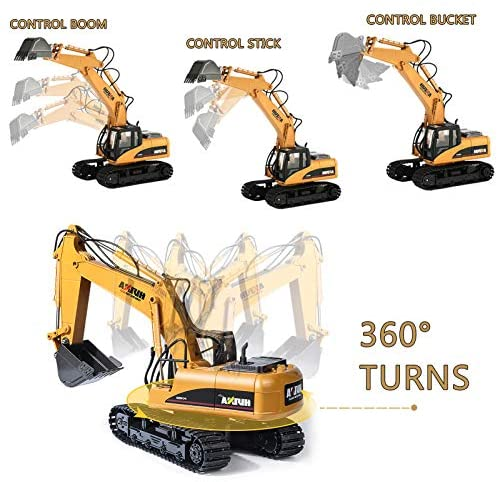 51340idIprL. AC  - TEMA1985 Remote Control Excavator Toys with Metal Shovel 15 Channel Full Functional RC Construction Vehicles with Lights & Sound 2.4Ghz RC Excavator Toys for Boys