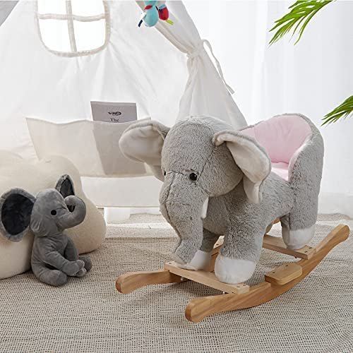 """513xSUYn84S. AC  - SpecialYou Rocking Horse Wooden Rockers with Seat Elephant Ride Plush Stuffed Animals Toy -Set of 2, Boy Girl Kids Ride on Toys for 8 Months to 3 Years Old, 25"""" Lx10 Wx16:H, Gray"""