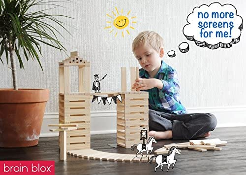 514qU8z2VHL. AC  - Brain Blox Wooden Building Blocks for Kids - Building Planks Set, STEM Toy for Boys and Girls (300 Pieces)