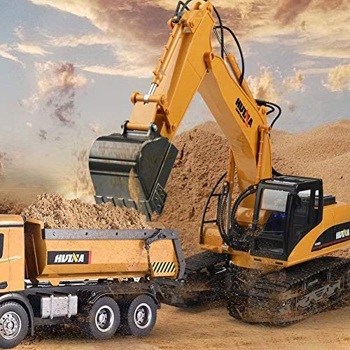 515LBAWOQSL. AC  - KKNY Remote Control Excavator Toy 1/14 Scale RC Excavator 15 Channel 2.4Ghz Full Functional Construction Vehicles RC Truck with Lights Sounds Xmas Gift for Boys Kids(Upgrade) (1:14-1)