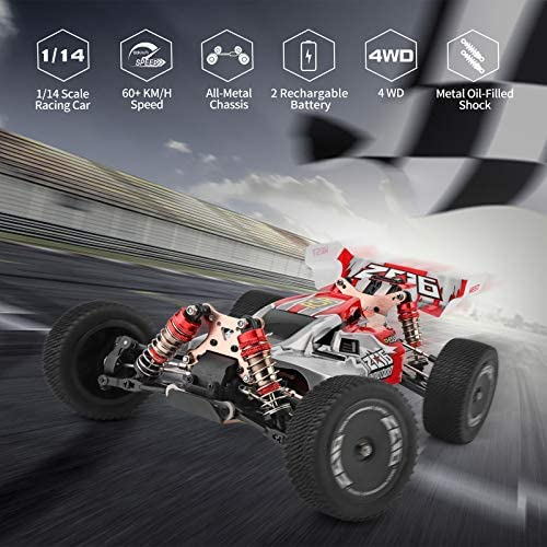 515gMllUk0L. AC  - Remote Control Car,60+ KMH 1:14 Scale WLtoys 144001 Fast RC Cars for Adults Kids,4WD Off Road Buggy Racing Car with 2 Batteries Gifts for Boys (Red)