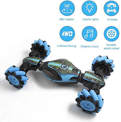 516 JvaQZKL. AC  - GoolRC RC Stunt Car, 4WD 2.4GHz Remote Control Car, Deformable All-Terrain Off Road Car, 360 Degree Flips Double Sided Rotating Race Car with Gesture Sensor Watch Lights Music for Kids (Blue)