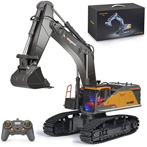 5160T 8x5lL. AC  - kolegend Remote Control Excavator Toy 1/14 Scale RC Excavator, 22 Channel Upgrade Full Functional Construction Vehicles Rechargeable RC Truck with Metal Shovel and Lights Sounds