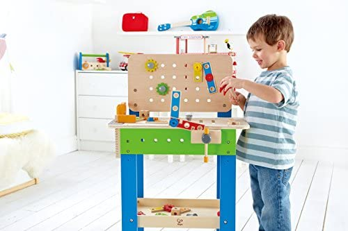 516CiyY5doL. AC  - Master Workbench by Hape | Award Winning Kid's Wooden Tool Bench Toy Pretend Play Creative Building Set, Height Adjustable 35Piece Workshop for Toddlers