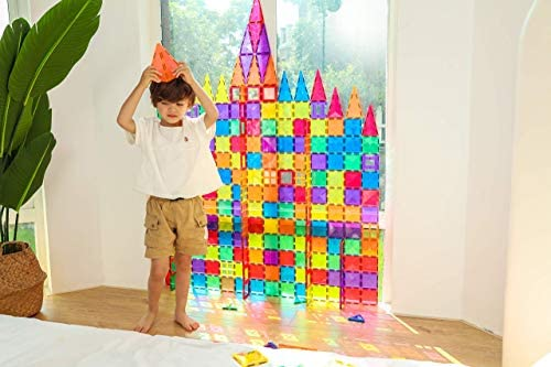 516tCuTZFwL. AC  - MEGAGONTILES 120PCS Magnetic Tiles | STEM AUTHENTICATED | Clear Magnetic Blocks | Magnetic Toys | Magnetic Building Blocks|Gift for Toddler Boys Girls 3-10 Year Old | Include Idea Books & Storage Bag