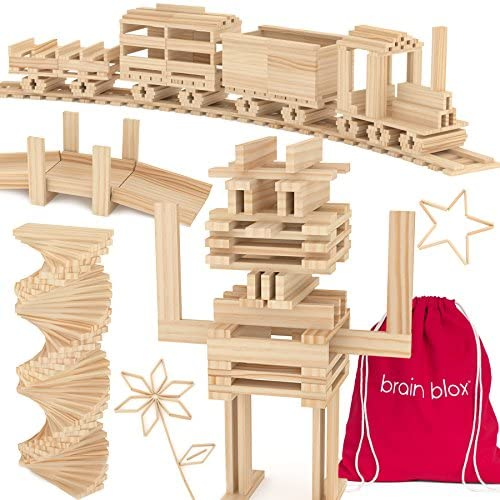 517wcrP35UL. AC  - Brain Blox Wooden Building Blocks for Kids - Building Planks Set, STEM Toy for Boys and Girls (300 Pieces)